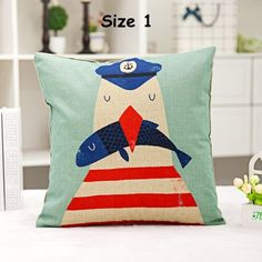 18 Inches Cartoon Cushion Cover Captain and His Sailors Pattern Cotton Linen Pillow Cover Cushion Cover Pillow Case Home Decor