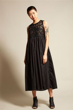 Adawas Embroidered Top Dress in Black