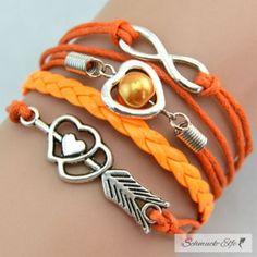 Armband Herz mit Pfeil & Infinity mit Perle orange...