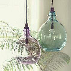 Lighting - Glass Jug Pendant - Terrain - vintage, glass, pendant, wine, jugs, aqua, purple, lilac,