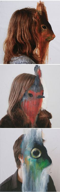 animal masks on photographic portraits are the work of French artist Charlotte Caron.