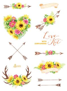 Love Kit with Sunflowers. Watercolor flowers Clipart arrows