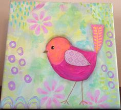 Pink Orange Purple Bird, Original Painting for Girls Room, 8x8 Canvas, Whimsical Art, Flowers, Pastel on Etsy, $46.50