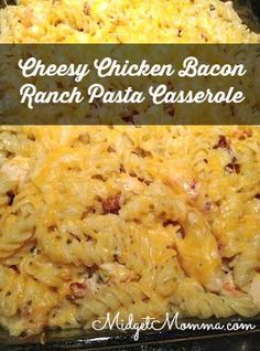 Cheesy Chicken Bacon Ranch Pasta Casserole made with chicken, bacon, ranch, pasta and cheese. My kids cleared their plates when I made this and asked for seconds! We had no leftovers of dinner the night I made this and everyone was full! EASY to make Cheesy Chicken Bacon Ranch Pasta Casserole that your whole family will love!