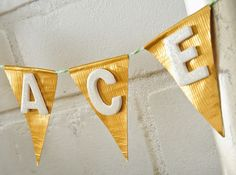 Duck Tape® crafts: Christmas bunting and gift wrap.