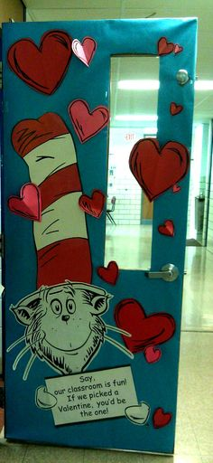 Love this Cat in the Hat door. :) Put it up for Valentines Day, leave it until March 2nd for Dr Seuss' Birthday!