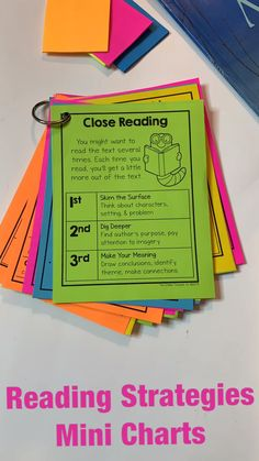 Reading Strategies Mini Anchor Charts I love using anchor charts to teach reading strategies and skills. These mini charts are the perfect resource to give [. Reading Resources, Reading Skills, Teacher Resources, Reading Charts, Kindergarten Reading Activities, Guided Reading Lessons, Reading Goals, Guided Reading Groups, Grammar Activities