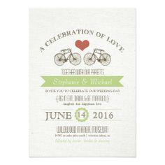 Vintage Bicycle Wedding Moss Brown Rustic Style Custom Invitation