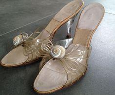 VTG SPRINGOLATOR Ladies Bombshell Spike Clear Lucite Mule Heels 1940s Sz 8 1/2