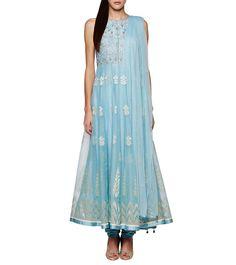 #Powder #Blue Gota Patti Net #Brocade #Anarkali #Suit by #Anita #Dongre at #Indianroots
