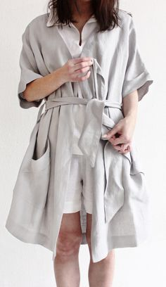 Linen dressing gown by Lovely Home Idea. Stonewashed linen bathrobe.  Natural Women dcf7be3aa