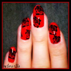 red with black roses nail art