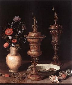 Clara Peeters Flowers and Gold Goblets
