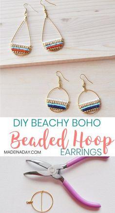 How to Make Beachy Boho Beaded Hoop Earrings Super fun layered beaded earrings so cute boho Bohemian hoop earrings beachy trendy wire hoop earrings navy blue earrings wo. Bar Stud Earrings, Blue Earrings, Beaded Earrings, Diy Seed Bead Earrings, Diy Earrings Beads, Pearl Earrings, Seed Beads, Diamond Earrings, Diamond Jewelry