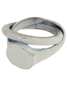 Silver ring from Goti featuring a double loop design, a paint stripped effect and an enlarged face detail