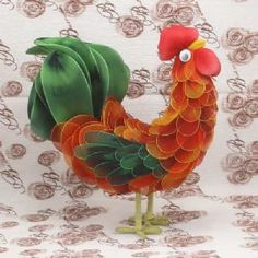 Handmade nylon product, wires and Nylon, Rooster, 1 Animal, 23cm x 10cm x 22cm, [SW069]