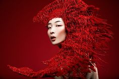from obscure to demure — Eve Liu and Yuen Sze Jia by Lindsay Adler . High Fashion Photography, Portrait Photography, Lindsay Adler, Lipstick Style, Avant Garde Hair, Beauty Shots, Red Aesthetic, Monochrom, Red Fashion