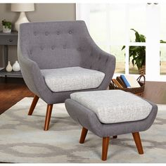 Simple Living Elijah Mid Century Gray Chair And Ottoman Set Free For Grey Chair And Ottoman Regarding Your Home Living Room Sets, Living Room Chairs, Living Room Furniture, Home Furniture, Living Room Decor, Furniture Outlet, Online Furniture, Grey Furniture, Dining Room
