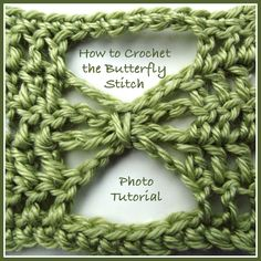 A photo tutorial showing how to crochet the butterfly stitch.