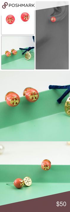 "Tory Burch Evie Pearl Stud Earrings Coral Brand new. Signature dust bag included.  Vibrant glass pearls are adorned with the iconic, gleaming Tory Burch logo in pretty stud earrings that finish your look with a punch of color and shine. * 1/4"" drop. * Post back. * 16k-gold plate/glass. * By Tory Burch; imported. Tory Burch Jewelry Earrings"
