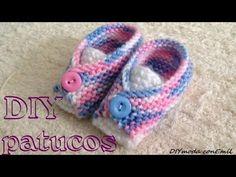 Cómo tejer patucos o zapatitos de lana para bebé, con dos agujas sin costura - Видео онлайн All Free Crochet, Crochet For Kids, Crochet Baby, Knit Crochet, Baby Booties Knitting Pattern, Baby Knitting, Knitting Patterns, Baby Boots, Baby Girl Shoes