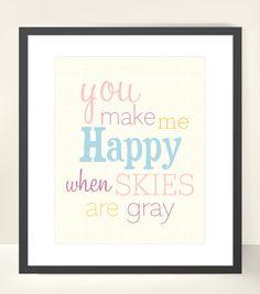 You Make Me Happy Typographic Modern Print Children's Nursery Wall Art Poster - 8x10. $16.00, via Etsy.