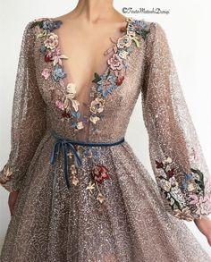 [ Details of two dress-salmon pink Color-glittery dress design tulle fabric-handmade emb Elegant Dresses, Pretty Dresses, Beautiful Dresses, Light Purple Dresses, Floral Midi Dress, Tulle Dress, Salmon Dress, Evening Dresses, Prom Dresses