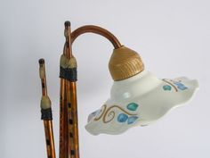Lamp Launeddas. table lamp that reproduces launeddas, typical Sardinian traditional wind instrument, made of sheet metal and copper pipe.