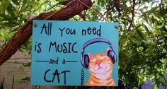 Placa Music and Cat 15x20