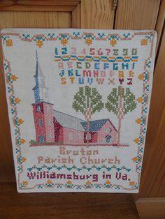 Vintage, completed cross stitch sampler of Bruton Parish Church, Williamsburg, Virginia.  In fine condition.