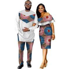 African Style Clothing Family Couple Man Shirt-Pnts Woman Dress Dashiki Cotton Wax