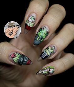 Zombie nails - so freaking cute! Halloween Nail Designs, Halloween Nail Art, Fall Nail Art, Cute Nail Art, Holiday Nails, Christmas Nails, Acrylic Nail Designs, Nail Art Designs, Nails Design