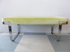 Mid-Century Modern Heavy Chrome Bench With Celery Green Scalamandre Velvet Fabric, In The Manner Of Milo Baughman. by FLORIDAMODERN on Etsy
