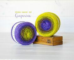 2 Hand Dyed Yarn Balls  100% Wool  by CraftyWoolFelt on Etsy