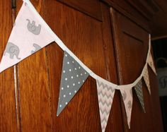 BUNTING, GARLAND, BANNER, elephant baby room, elephant photo prop, party decor, baby shower, pink elephant decoration, chevron, pink, grey,