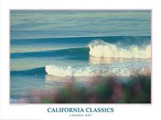 LUNADA BAY California Classic Surfing Poster - Creation Captured - Woody Woodworth -Available at www.sportsposterwarehouse.com Tribes Of Palos Verdes, Surf Posters, Poster Prints, Magenta Flowers, Beautiful Posters, Surf Art, Surfs Up, Art Reproductions, Surfing