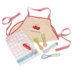 Le Toy Van - Apron & Utensil Set — these are the cutest utensils and apron to match my daughter's Le Toy Van kitchen I got from Entropy earlier this year! Van Kitchen, Wooden Kitchen, Kitchen Sets, Kids Kitchen Accessories, Pretend Play Kitchen, Cooking Utensils Set, Kitchen Utensils, Vans Kids, Wooden Dollhouse