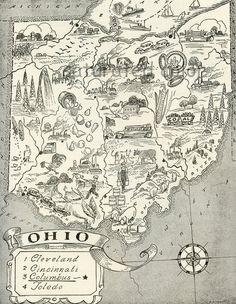 Ohio Map Vintage - A Delightfully Amusing ORIGINAL Vintage Map - 1950s Fun. $14.50, via Etsy.