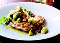 Chicken breasts with bacon and brussels sprouts
