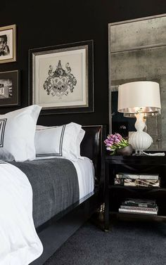 Marvelous Romantic Bedroom Ideas for Fall - Page 30 of 32 Discover which ones qualify and if they're the correct ones for your house. Black Bedroom Decor, Black Bedroom Furniture, Furniture Sets, Master Bedroom Design, Home Bedroom, Bedroom Ideas, Masculine Master Bedroom, Boho Glam Home, Elegant Home Decor