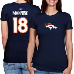 Peyton Manning Denver Broncos Ladies #18 Player T-Shirt - Navy Blue for my denver family