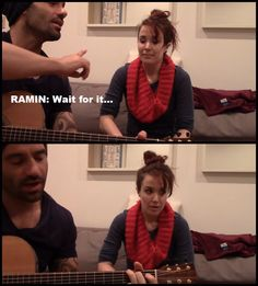 Ramin Karimloo and Sierra Boggess, Rierra. Ramin: Wait for it...(sings)