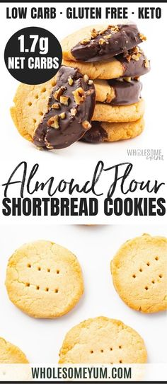 This buttery keto shortbread cookies recipe with almond flour has just 4 ingredients & net carb each! Low carb almond flour cookies taste just like real shortbread. No one can tell they're gluten-free shortbread cookies. Keto Cookies, Gluten Free Shortbread Cookies, Almond Flour Cookies, Almond Flour Recipes, Healthy Cookies, Almond Flour Desserts, Almond Flour Muffins, Egg Muffins, Keto Friendly Desserts
