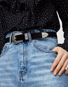 Pull&Bear - woman - accessories - what's new - basic western belt - black - 05872314-V2017