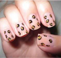 leopard nails. I like how these are on a plain nail with no polish