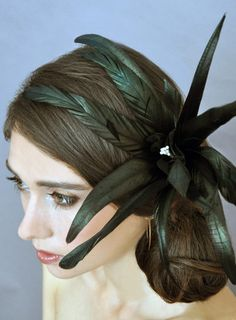 Black Coque Night Flower.  Leah C Couture Millinery.