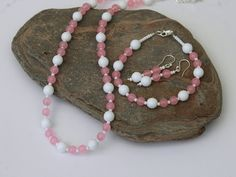 Pink and White Rose Quartz and Sterling Silver Jewellery Set, S3 £35.00