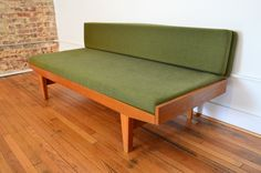 Mid Century Sofa and Day Bed with Green Wool Blend Cushions