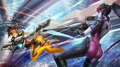 Tracer vs Widowmaker Overwatch sexy Girls Sci-Fi Wallpaper