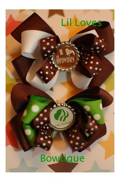 Girl Scouts Brownies Bottlecap Hairbow by LilLovesBowtique on Etsy, $7.50